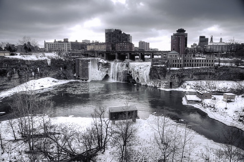 winter usa snow newyork ice sunrise frozen waterfall rochester highfalls