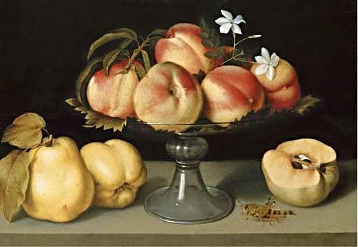 Galizia, Fede (1578-1630) - A Glass Compote with Peaches, Jasmine Flowers, Quinces and a Grasshopper (Christie's New York, 2006)