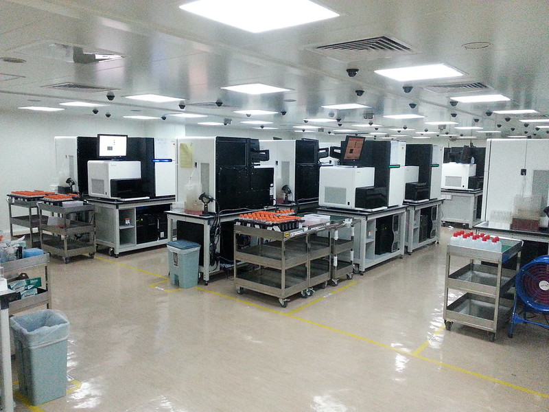 This Is BGI Hong Kong DNA sequencing center. it is the largest DNA sequencing facility in the world.