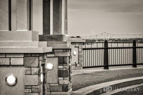 bridge blue bw monochrome sepia gazebo telephoto ohioriver englishpark