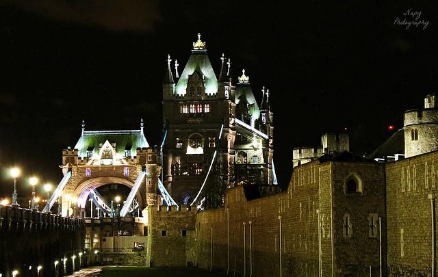 Tower Bridge by night.