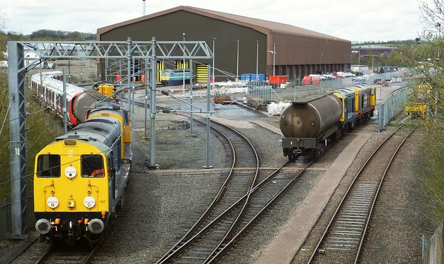 Locos 20107 & 20314 propel a new set of 'S Stock' into the Asfordby Depot, prior to testing, Old Dalby Branch. 20132 & 20096 wait on the right. 29 04 2016