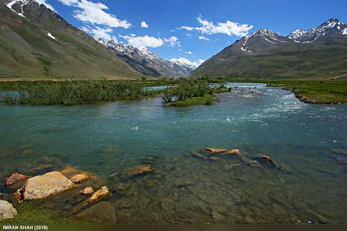 trees pakistan sky snow mountains ice water clouds landscape stream wide location elements vegetation greenery summits langar ghizer gilgitbaltistan