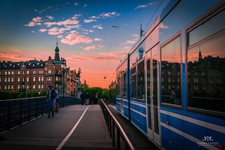 Djurgårdsbron, tram and a pink sunset (Stockholm) | by Tommie Hansen