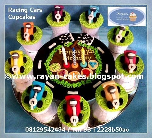 Racing Cars Cupcakes Birthday Fondant Kue Ulangtahun Mobil