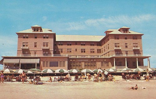 beach umbrella vintage hotel postcard maryland oceancity