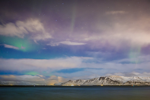 city longexposure winter light sky snow mountains ice water night clouds stars iceland peak reykjavik aurora seafront northern northernlights