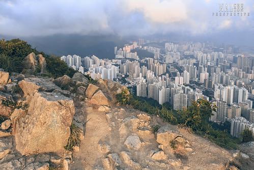 city sunset hk mountain reflection rock buildings rocks top hill lion highest