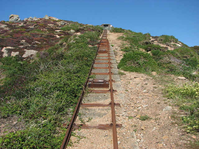 Railway tracks up the cliff
