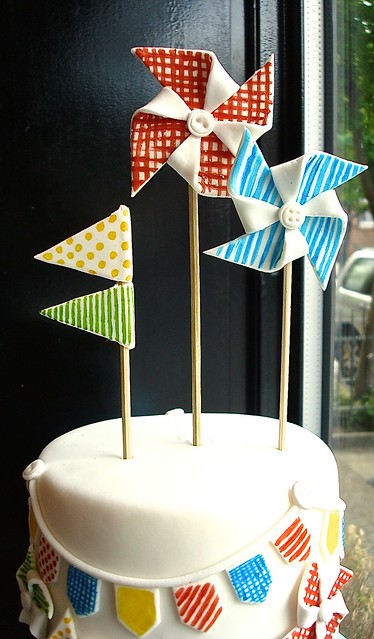 Fondant Pinwheel and Bunting Cake Toppers