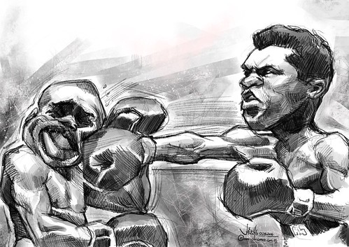Muhammad Ali digital caricature sketch on iPad Pro + Apple Pencil in Procreate | by jit@portraitworkshop.com