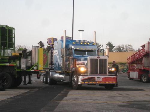 morning carnival blue red usa white truck sunrise lights steel chrome american rides trucks custom bigtruck stainless peterbilt 18wheeler tractortrailer custompaint 379 bluemetallic