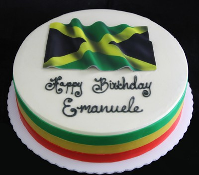 Super Jamaican Flag Cake Cake Covered In Smoothed Buttercream Wi Flickr Funny Birthday Cards Online Overcheapnameinfo