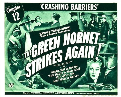 "The Green Hornet Strikes Again (Universal, 1941). Lobby Card (11"" X 14""). Chapter 12 -- ""Crashing Barriers."""