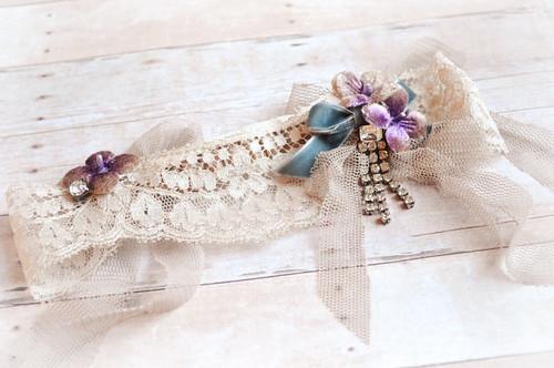 Bridal garter, cream wedding garter, vintage lace garter, floral wedding accessory, bridal wear (4) | by Bellafaye Garden