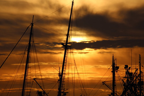 ocean sunset red summer sky orange beach yellow rock boats washington fishing commerce song pirate bellingham roll pugetsound mast washingtonstate fishingboat rockandroll beachboys whatcom shrouds bellinghambayboats