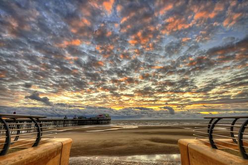 sunset england blackpool hdr highdynamicrange seasideresort blackpoolbeach photomatix photomatixpro lancahsire nikonflickraward