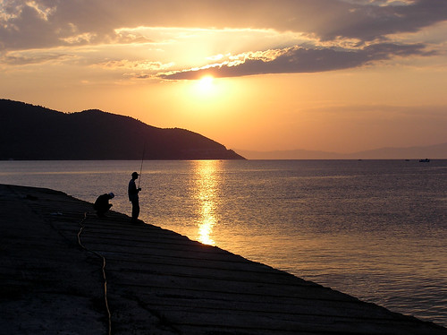travel sunset seascape fishing greece thassos thasos eastmacedoniaandthrace
