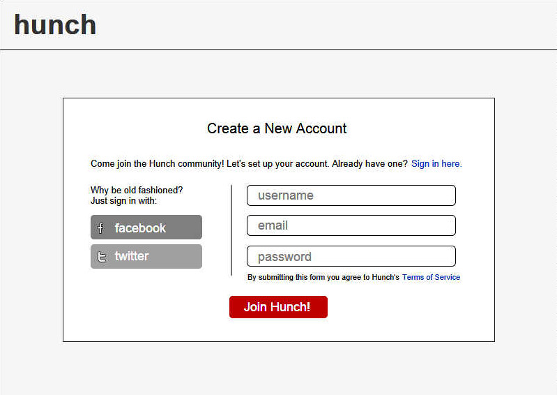 Hunch Sign-up Form Wireframe | Hunch Sign-up Form Wireframe