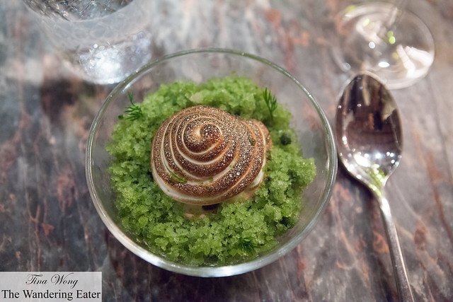 Frozen apple panna cotta with herb granite and meringue