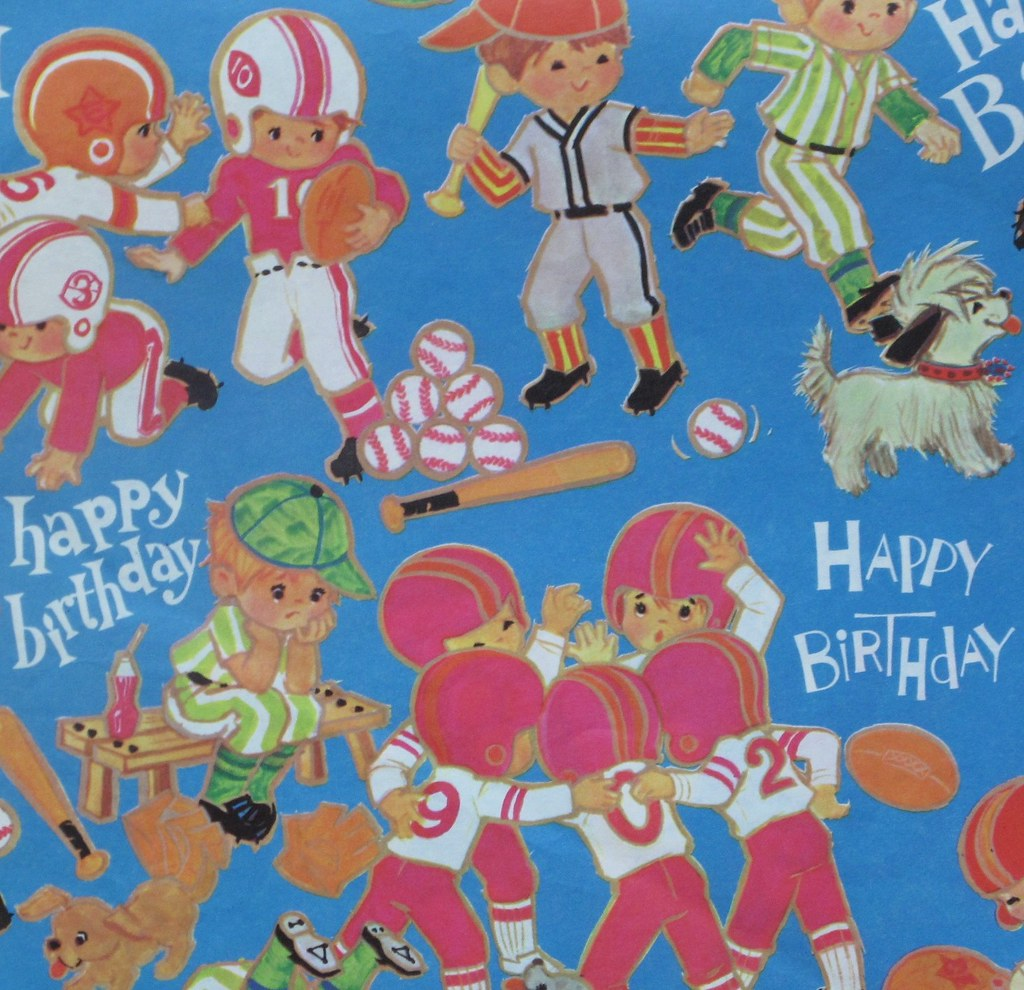 Vintage Juvenile Boy Happy Birthday Gift Wrap