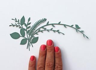 Tiny botanical paper cut