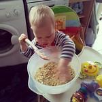 George helping Rosie make crumble :-)