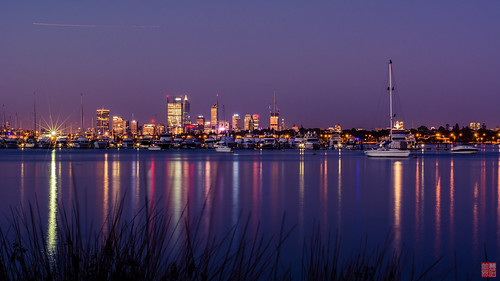 city longexposure reflection skyline river nightscape perth swanriver applecross canningriver