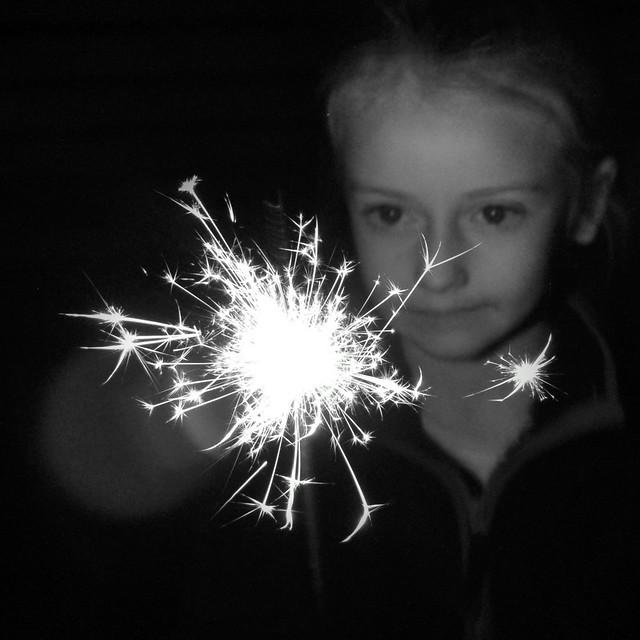 Elsie and her 'sprinkler' . . . she meant sparkler