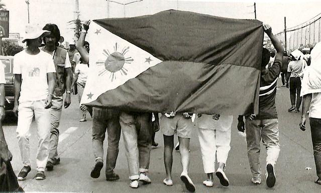 A walking flag shield