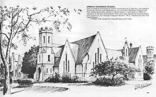 ipswich historic architecture queensland penandink sketch drawing dirkblokland vintage school ipswichgrammarschool gothic benjaminbackhouse 1863 cru årgang jahrgang vendimia aussiemobs