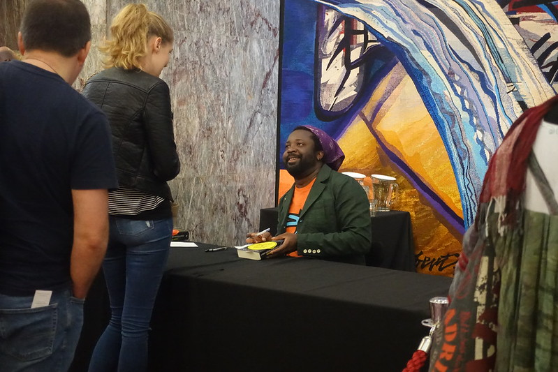 Marlon James at the signing desk