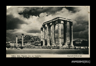 Postcard of the Temple of Zeus, Athens, with the Acropolis in the background