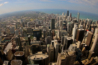 View north from the Willis Tower (Sears Tower) Skydeck, Chicago IL | by roy.luck
