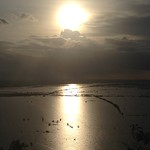 the evening sun with drenched land in rainy season from Phonom Krom,Cambodia プノン・クロムからの夕日