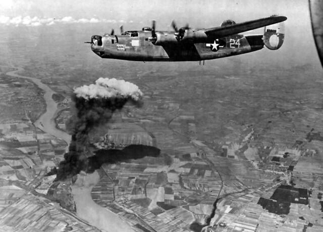 American B-24s bomb oilfields
