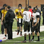 Maryland's WR Stefon Diggs, QB Perry Hills, and PK Adam Greene on the sidlelines.