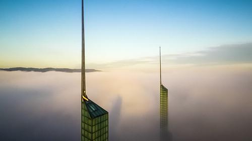 weather fog oregon sunrise portland cascadia drone oregonconventioncenter