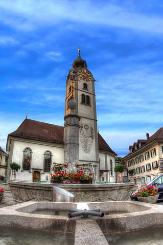 sky church weather architecture schweiz switzerland day view fisheye walimex hdr photomatix huttwil originalfilter