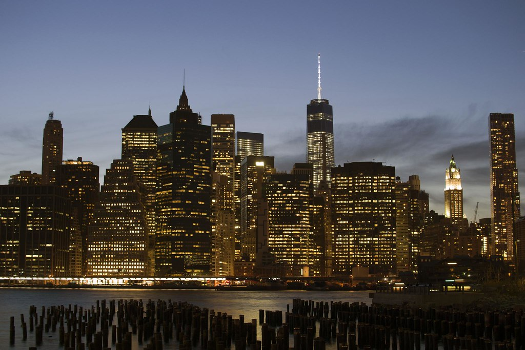 Lower Manhattan over old piers