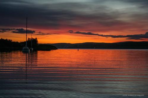 sunset sea west reflection coast scotland ross highlands harbour yacht scottish explore anchorage gairloch wester badachro