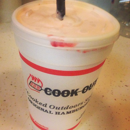 May 9: a snack! Cookout has the best #milkshakes with so many flavors to choose from! #strawberry #cheesecake | by punkychewster