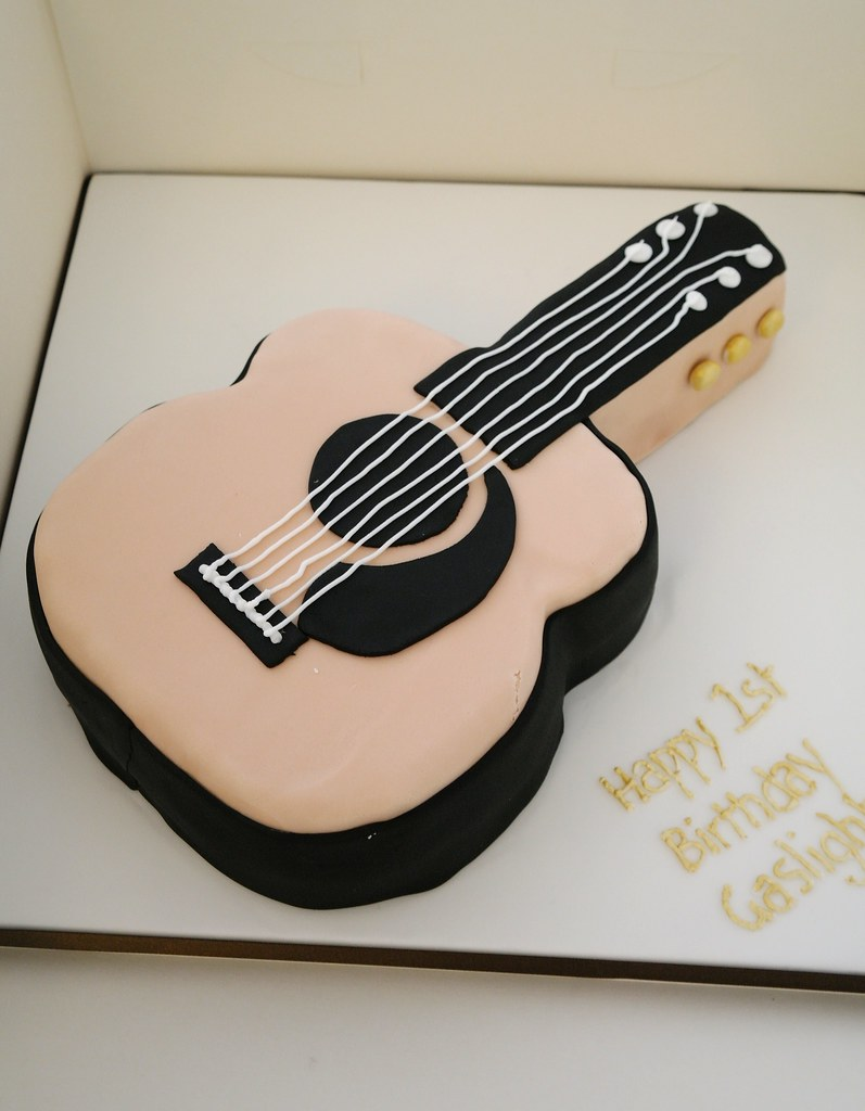 Awesome Acoustic Guitar Cake Acoustic Guitar Shaped Cake For First Flickr Funny Birthday Cards Online Barepcheapnameinfo