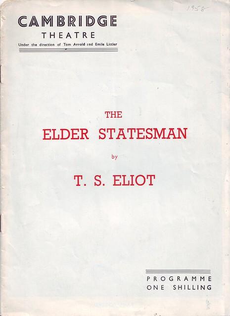 The Elder Statesman, de T. S. Eliot.  Dir. E. MArtin Browne (Cambridge Theatre. 1958)