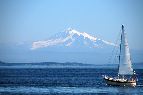 Mount Baker in Washington viewed across Georgia Strait from Gowlland Point, Pender Island, British Columbia