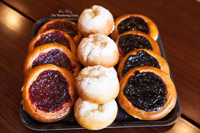 Ligonberry buns, Skolebollers, and Blueberry buns