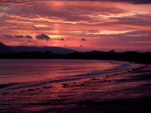 park sunset sea sun beach weather clouds seaside northernireland redsky caravan pinksky cranfield mournes utvweather