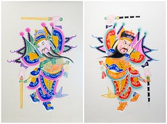 Chinese Door Gods woodblock colour prints diptych