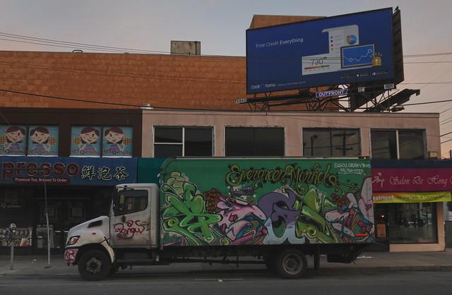 Evergreen Market graffiti truck on Irving St; The Sunset, San Francisco (2015)