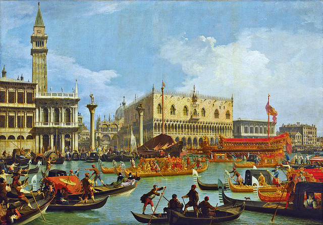 Canaletto - Bucentaur's return to the pier by the Palazzo Ducale [1727-29]